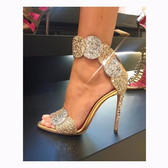Luxury Gold Bling Crystal Embellished High Heel Pumps Summer Sexy Open Toe Woman Back Zipper Ankle Strap Gladiator Sandals summer hot sale women fashion open toe bling bling gold sliver strap high heel sandals ankle wrap gladiator sandals dress shoes