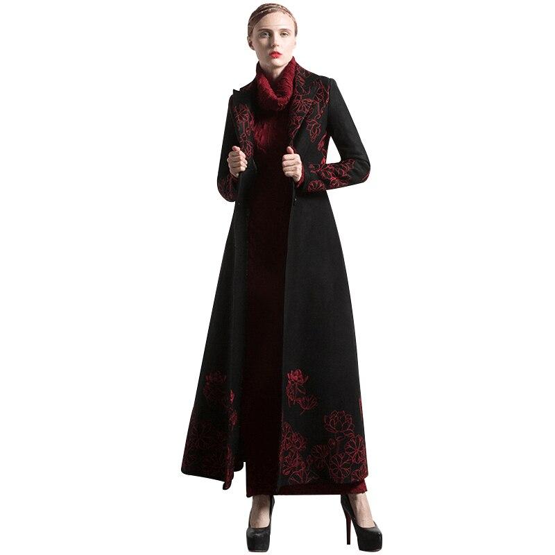 Nouveau Mode S-XXXL Automne Hiver Broderie Noir Long Manteau Floral Plus La Taille De Luxe Tranchée Femmes Musulman Outwear 6254