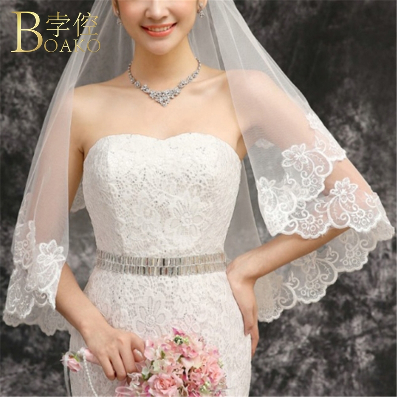BOAKO 1.5m Wedding Veil Ivory Double Layer Short Bridal Veil Lace Edge Wedding Accessory Bride Hairdress Veils K5