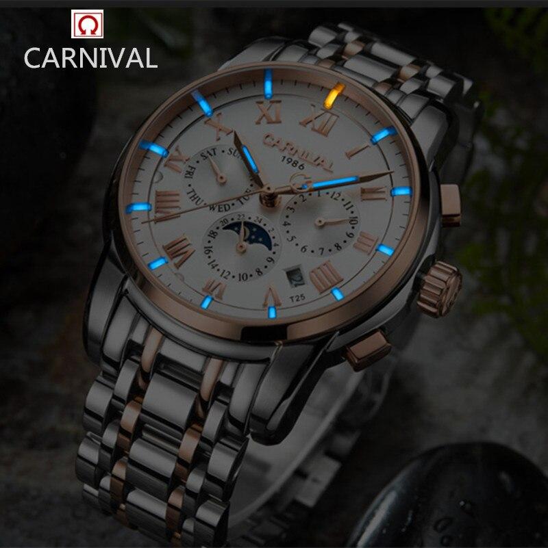 Carnaval assistir homens de luxo da marca Suíça Trítio luminosa militar mecânico da fase da lua relógios homens completa aço relógios relojs