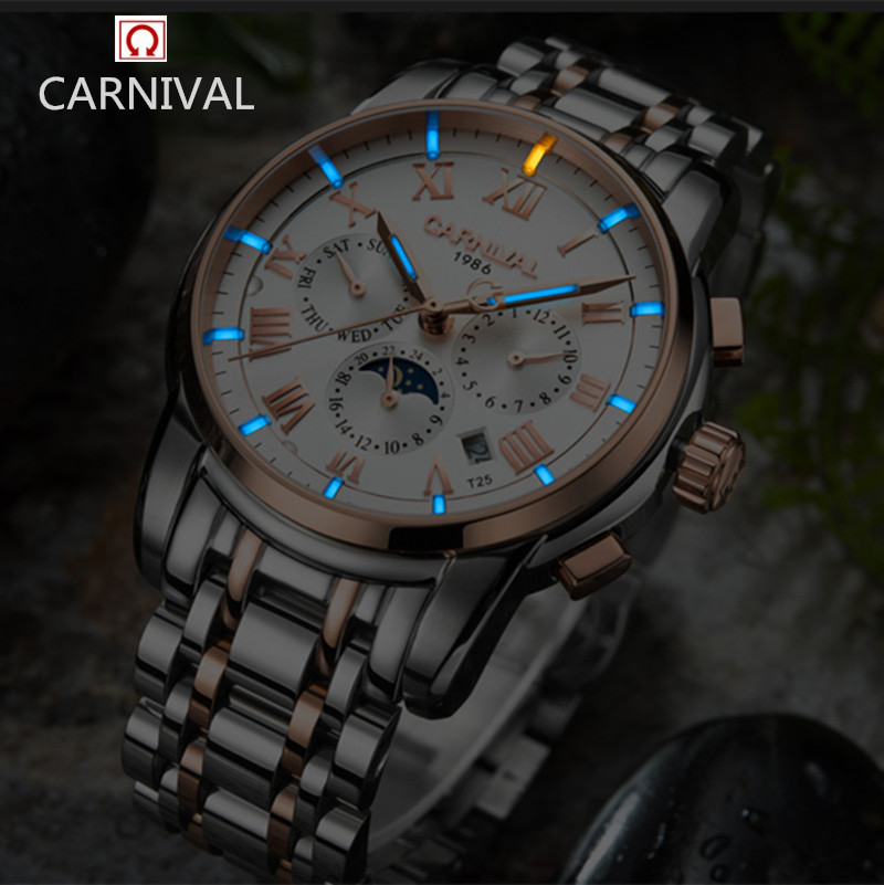 Carnival luxury brand moon phase Tritium T25 luminous military watch mechanical men watches full steel waterproof clocks relojs