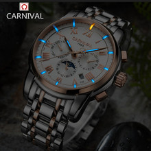 Карнавал роскошный бренд moon phase Тритий T25 светящиеся военные часы Механические Мужские часы Полный стали водонепроницаемые часы relojs