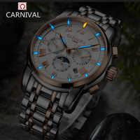 Carnival watch men Switzerland luxury brand moon phase Tritium luminous military mechanical men watches full steel clocks relojs