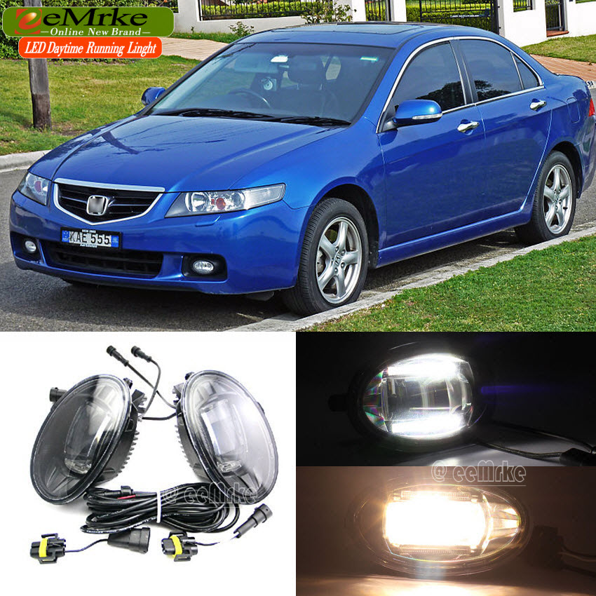 eeMrke For Honda Accord EU US 2 in 1 Double Led Guiding DRL Fog Lights Lamp With Q5 Lens Daytime Running Lights eemrke car styling led drl for honda crosstour concept 2013 2014 2 in 1 led fog lights lamp with q5 lens daytime running lights