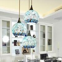 Mediterranean Bohemian style glass lampshade pendant light Suspended Luminaire corridor for bedroom lamp