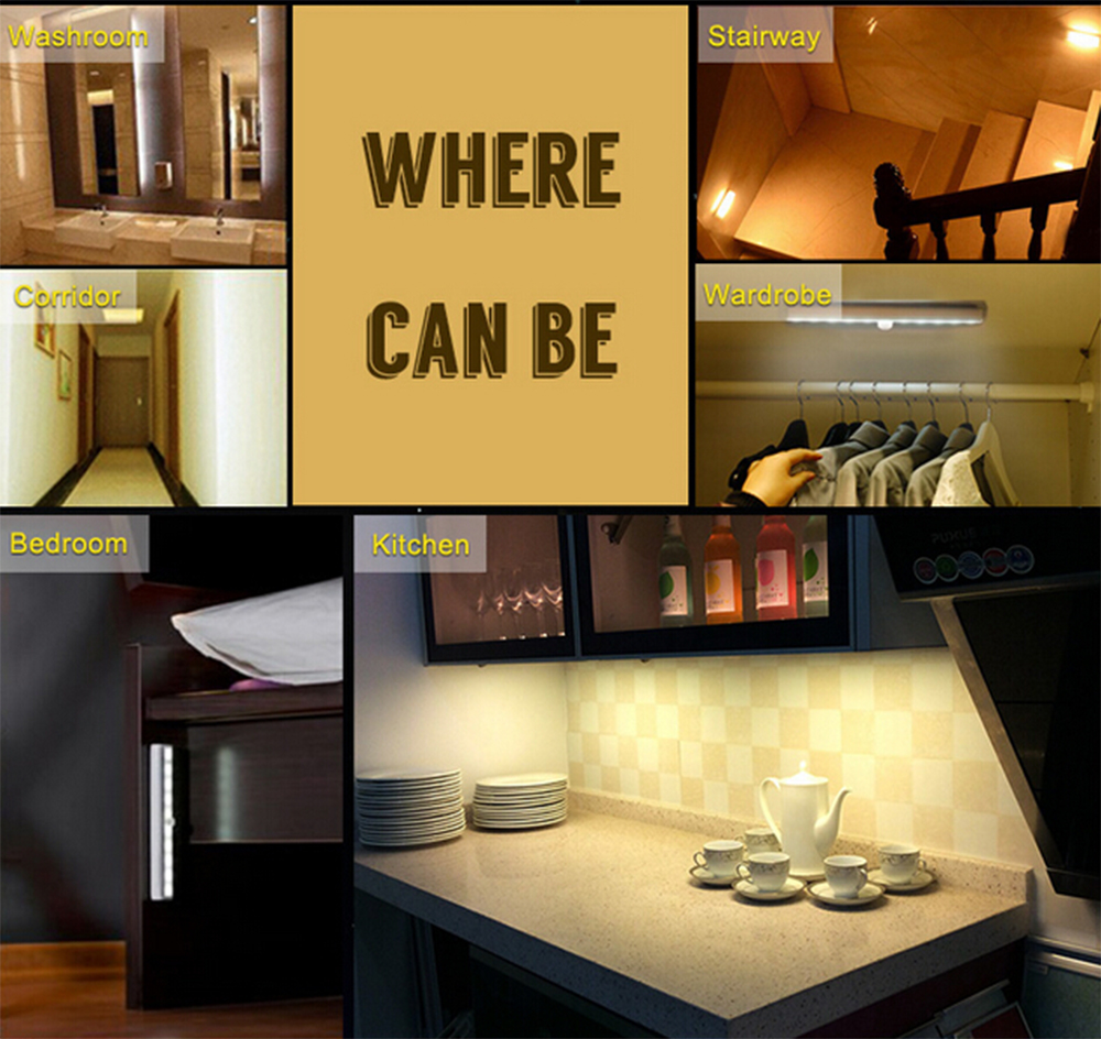 Magnetic Strip Closet Cabinet Wall Lamps Auto Infrared IR Motion Sensor LED Night Light Rechargeable Pathway Staircase