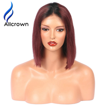 Alicrown T1B/Burgundy Ombre Human Hair Bob Wigs Brazilian Remy Hair Lace Front Wigs Short Wigs For Black Women Bleached knots