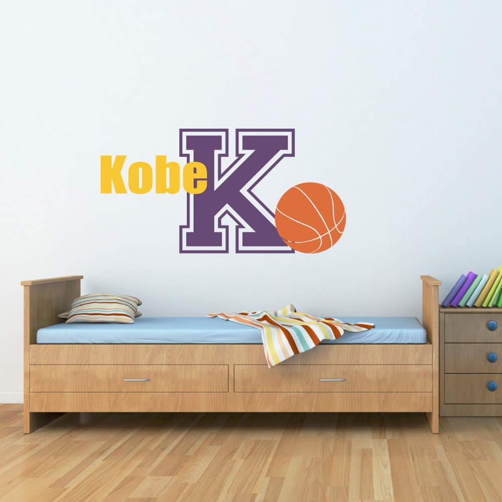 basketball vinyl decal with custom name initial sports wall decals boy child bedroom wall art