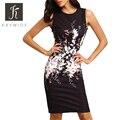 Kaywide 2016 nuevo estilo del verano bodycon vestidos de las señoras de la vendimia atractiva de la aptitud negro mujeres de la impresión floral dress lápiz sexy dress