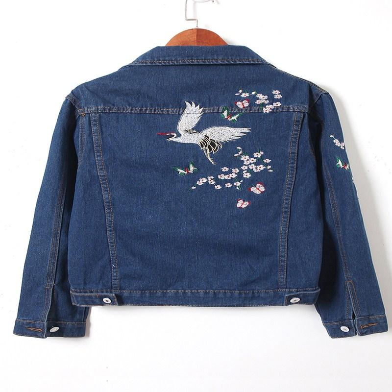 New Woman Blusas Korea Embroidery Trendy Female Denim Coats Arrival Jean Bird Fashion Women Jacket 2018 Slim Jackets wrXRwqa