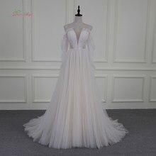 fa92e47c7055a Dream Angel Vestido De Noiva Sexy Illusion Beach Wedding Dresses 2018 V  Neck beaded Pearls Pleat Tulle Bride Gowns Plus Size