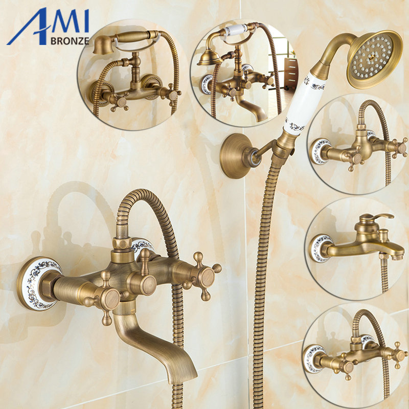 Antique Brushed Brass Bath Faucets Wall Mounted Bathroom Basin Mixer Tap Crane With Hand Shower Head Bath & Shower Faucet antique brushed brass bathroom faucet bath faucet mixer tap wall mounted hand held shower head kit shower faucet sets hf 6656f