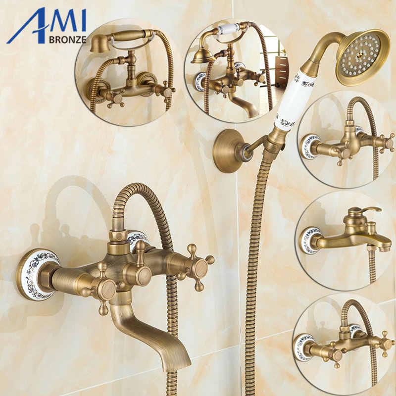 โบราณแปรงทองเหลือง Bath ก๊อกน้ำติดผนังห้องน้ำอ่างล้างหน้าเครน Hand Shower HEAD Bath & Shower ก๊อกน้ำ