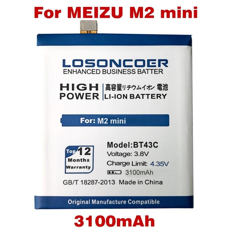 imágenes para LOSONCOER 3100 mAh BT43C BT 43C M2 MINI batería de Reemplazo del Li-ion Para Meizu M2mini M2 MINI batería