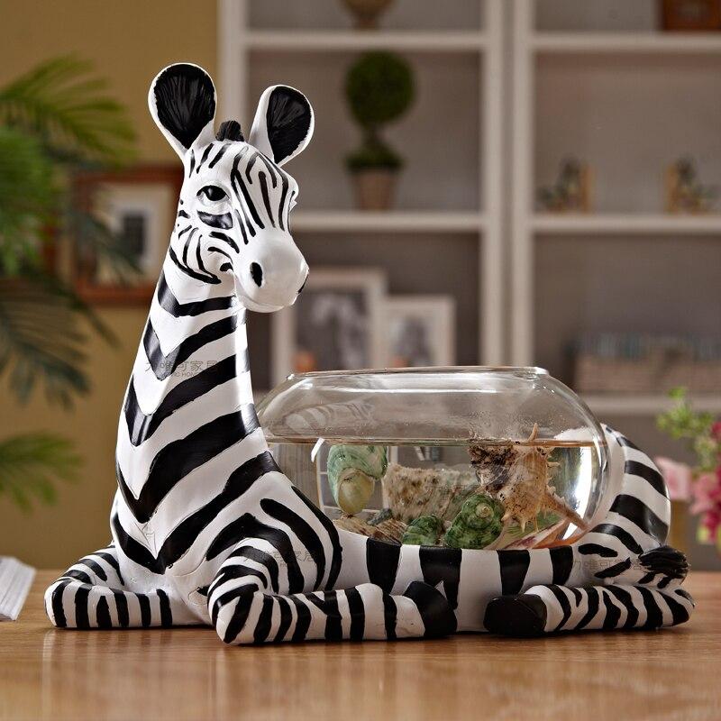 Figurine zèbre créative petit réservoir de poisson en verre aquarium poisson bol bureau mini petit réservoir de tortue cylindre réservoir de poisson rouge rond