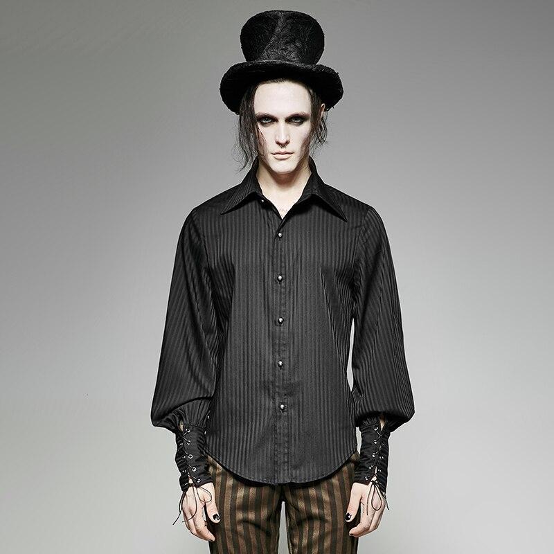 Steampunk chemise homme à manches longues à rayures mode ample cravate la corde manchette fête Blouses noir bleu