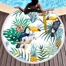CAMMITEVER Parrot Tassel Animals Birds Tapestry Round Beach Towel Toalla Sunblock Blanket Animal Yoga Mat 150cm