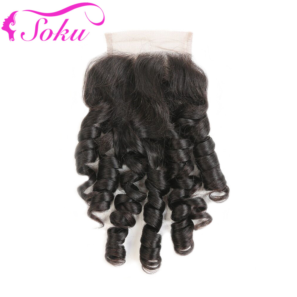 Brazilian Bouncy Curly Lace Closure 1PC Human Hair Natural Color 10-20Inch Free/Middle Part 4*4 Lace Closure SOKU Non-Remy Hair