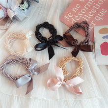 Korean Fashion Exquisite Beaded Elastic Hair Bands Sweet Girl Womens Graceful Temperament Bowknot Ponytail Accessories