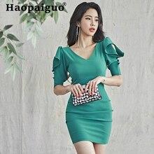 Korean Style Green Summer Dress 2019 Puff Sleeve Corset Bodycon Wrap Dress Women Solid Sheath Mini Bandage Dress Women Jurken цена