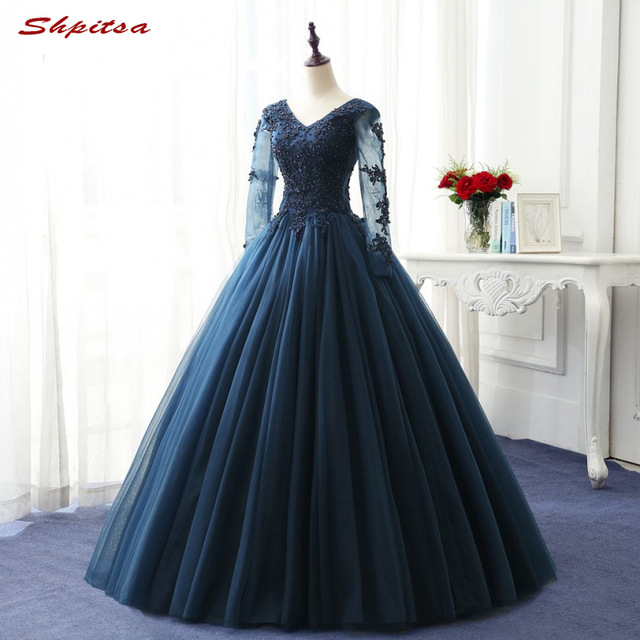 Navy Blue Long Sleeve Lace Quinceanera Dresses Ball Gown Girls ...