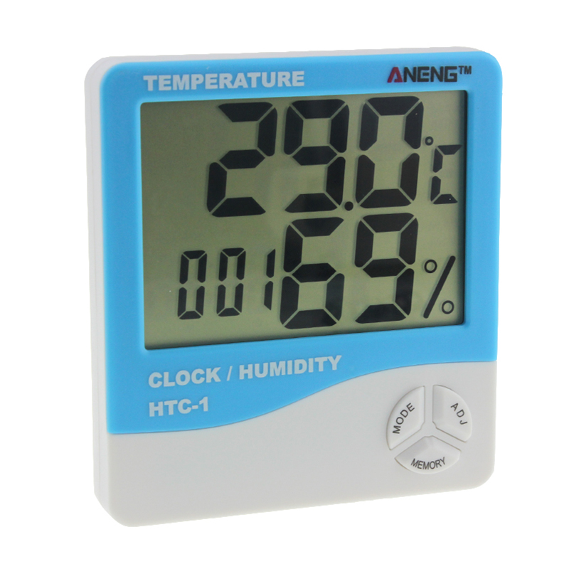 ANENG HTC-1 Digital Thermometer Hygrometer Temperature Humidity Meter LCD Electronic Weather Station Alarm Clock termometro multifunctional home humidity thermometer lcd digital hygrometer temperature meter clock measurement device