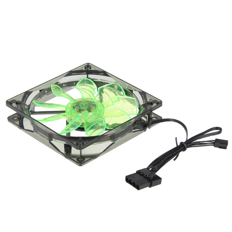15 LED Light Cooling Fan DC12V 4Pin Connector Computer PC Clear Case Quad 12CM Heatsink Fan Green 2017 Newest 75mmx30mm dc 12v 0 24a 2 pin computer pc sleeve bearing blower cooling fan 7530 r179t drop shipping