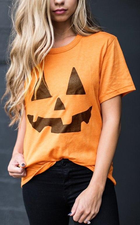 a805650aa Halloween Pumpkin Horror Grimace Kawaii Graphic Funny T-shirt Yellow Cotton  Unisex Women Fashion Grunge Tumblr Tees Tops T Shirt
