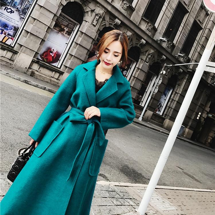 Laine Manteau Femelle De Paon D'hiver Double Bleu Épaississement Jupe Longue Type face Taille Swing Blue xwXHw4Iq