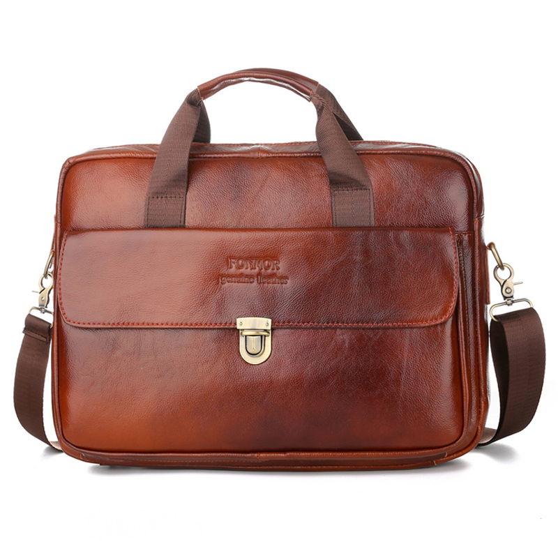 Men's Briefcase Real-Leather Tote Computer-Handbag Messenger-Bag Business Luxury New