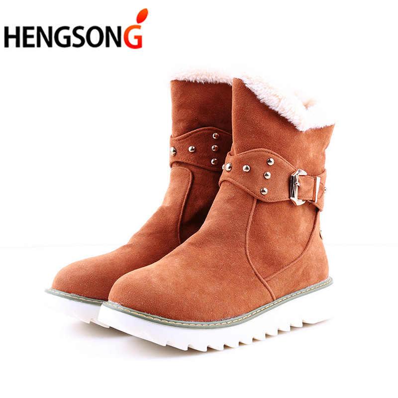 898e65bcb1a8 ... Faux Fur Snow Boots Women Fashion Ankle Boots Plus Size Black Winter  Warm Plush Boots Female ...