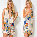 Summer Women Mini Dress Sleeveless Loose Dresses Elegant Floral Print Sling Button Shirt Dress Plus Size XXL