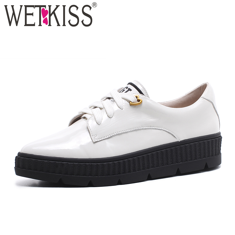 3cf4e6e0843ad1 WETKISS 2019 Spring Patent Leather Casual Women Flats Pointed Toe Shoelaces  Footwear Fashion Platform Sneaker White Girl Shoes