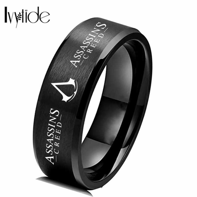 Assassin symbols кольцо на палец серебряное золото кольца из нержавеющей стали для мужчин титановые металлические кольца подарок стальное кольцо игра Прямая доставка