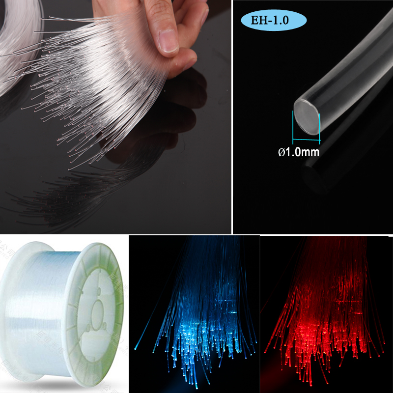 Fibre optic cable 1mm end glowing PMMA polymer optical light 2 meters