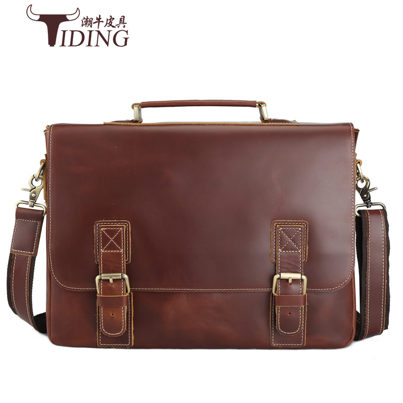 Genuine Leather Men's Fashion Business Briefcases Laptop Handbag Messenger Bag 15