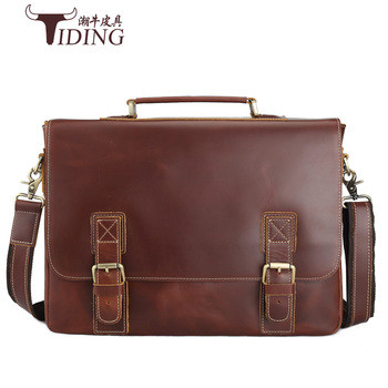 Genuine Leather Mens Fashion Business Briefcases Laptop Handbag Messenger Bag 15 bags Male Cow Crossbody Bags