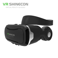 VR SHINECON 3D Virtual Reality Glasses With Headphones 3D VR Headset Pro Cardboard BOX SC G02E For 4.7 6 inch IOS Android Phones
