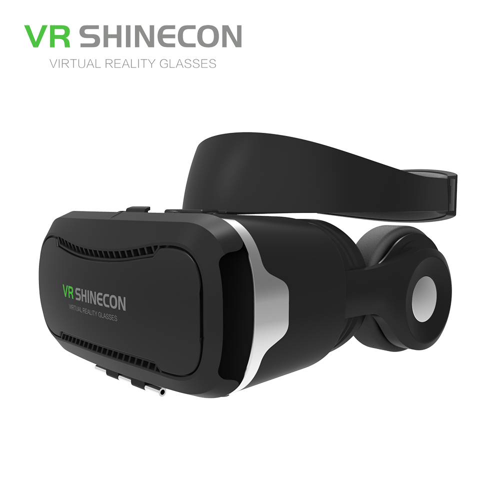 VR SHINECON 3D Virtual Reality Glasses With Headphones 3D VR Headset Pro Cardboard BOX SC-G02E For 4.7-6 inch IOS Android Phones hot 2018 original shinecon vr google cardboard vr box with headphone vr virtual reality 3d glasses for 4 7 6 0 inch phone