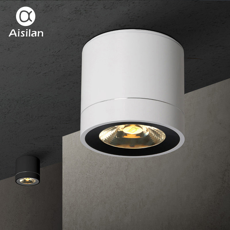 Aisilan LED Downlight Ceiling Lamps Surface Mounted Panel Light for Living Room Bedroom Hallway Kitchen Office COB AC85-260V aisilan modern led track spotlights cob ceiling lamps 360 180 angle adjustable ac85 260v 5 7w lighting fixtures living room shop