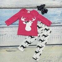 Novas roupas de Natal das crianças roupas casuais bebê meninas rosa quente roupas garoto conjunto de renas hot pink outono roupas com arcos