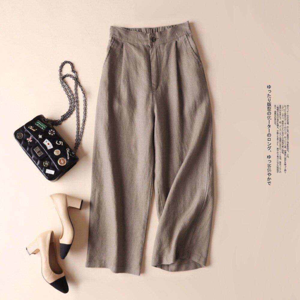 Printemps automne femmes all-match lâche lin pantalon à jambes larges