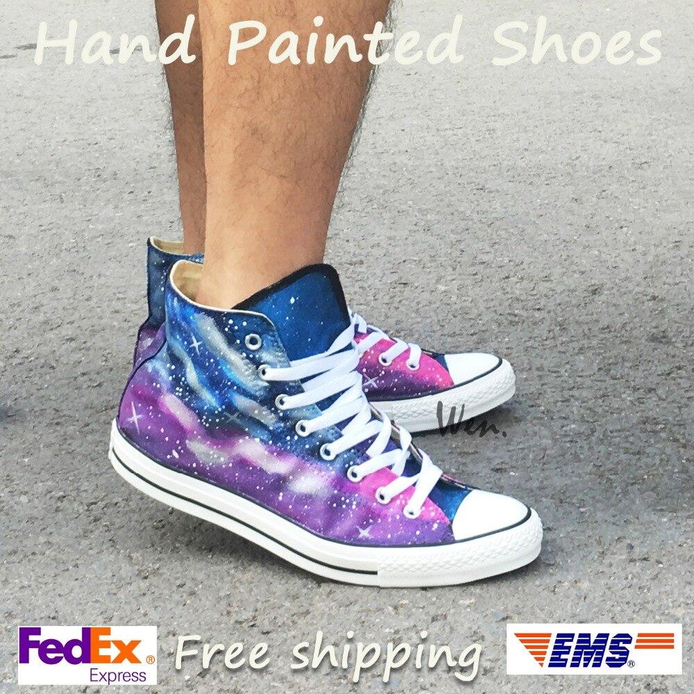 Wen Original håndmalede lærredsko Design Custom Galaxy Dark Blue og Purple Starlight High Top Men Women's Canvas Sneakers