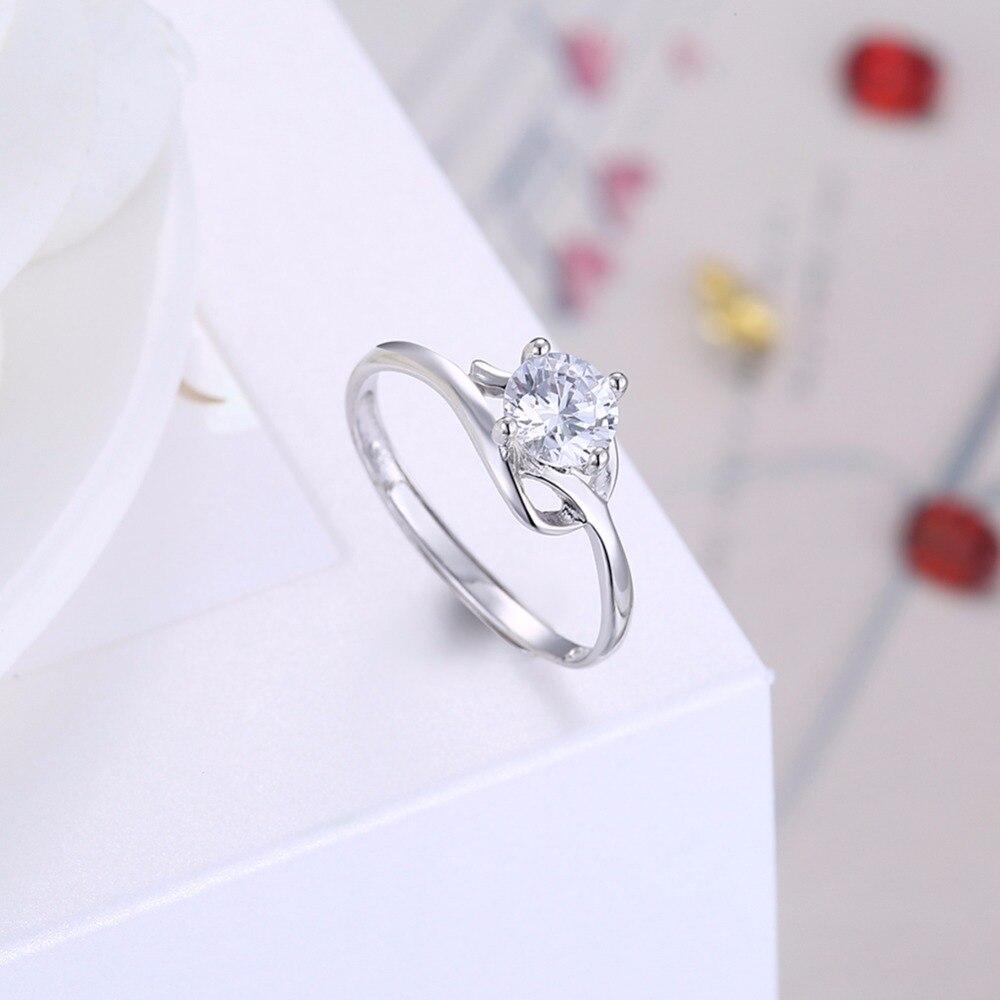 Элегантный цветок кольцо стерлингового серебра 925 Мода белый CZ свадебные украшения простой Обручение Обещание Кольца Mulher любовь R0041.