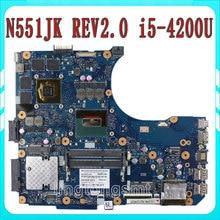 for ASUS N551JK motherboard N551JK REV2.0 Mainboard Processor i5 4000 DDR3L GeForce GTX850M 2GB 100% test