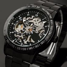 אופנה גברים של מותג ספורט שעונים נירוסטה שלד אוטומטי מכאני שעונים גברים Steampunk צבאי שעון זכר חדש