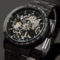 Moda Relógio Do Esporte Da Marca dos homens de Aço Inoxidável Esqueleto Mecânico Automático relógios homens Steampunk Relógio Militar masculino Novo