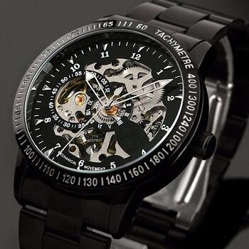 Moda erkek Marka Spor Saat Paslanmaz Çelik İskelet Otomatik mekanik saatler erkekler Steampunk Askeri Saat erkek Yeni