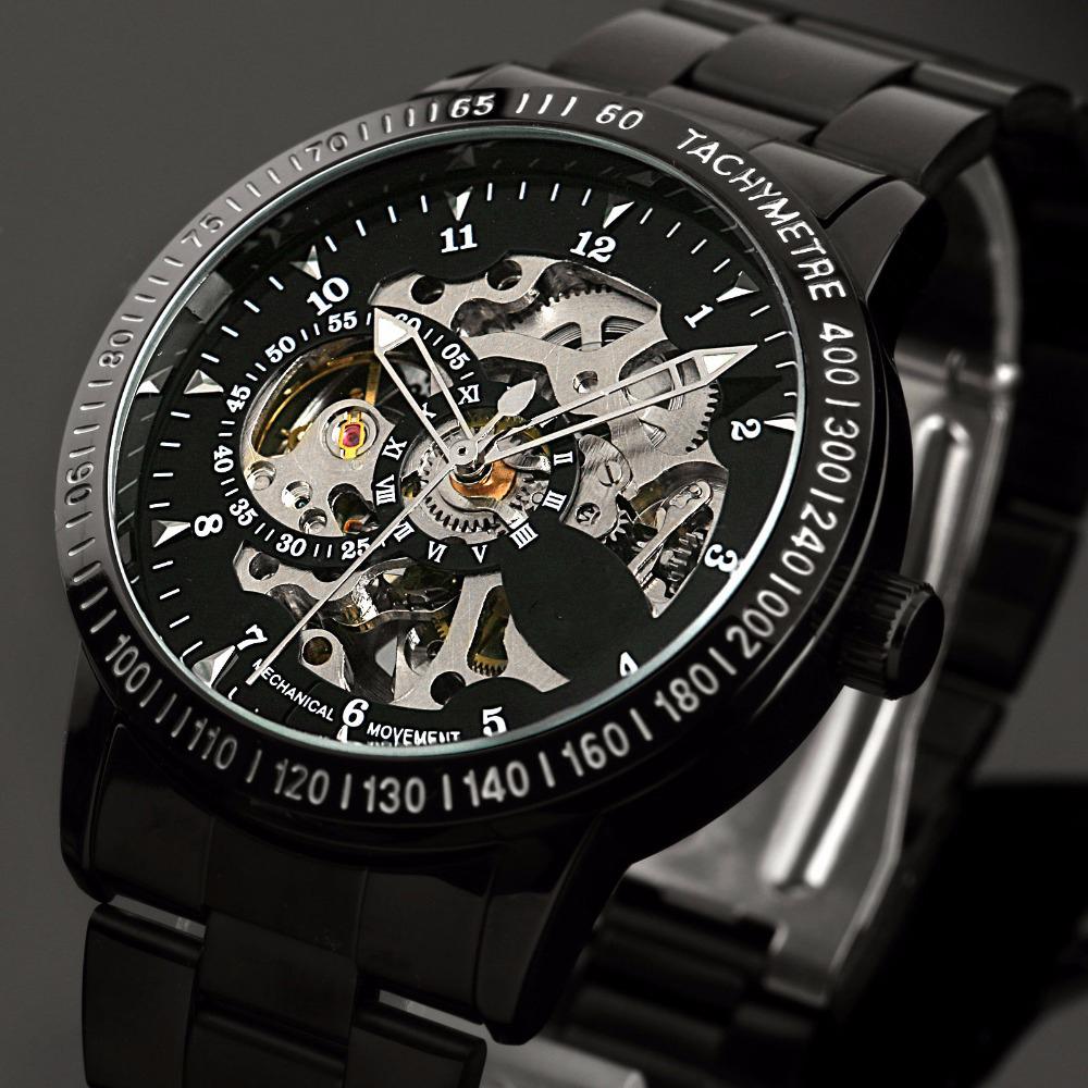 Prix pour Mode Hommes de Marque Sport Montre En Acier Inoxydable Squelette Automatique Mécanique montres hommes Steampunk Militaire Horloge mâle Nouveau