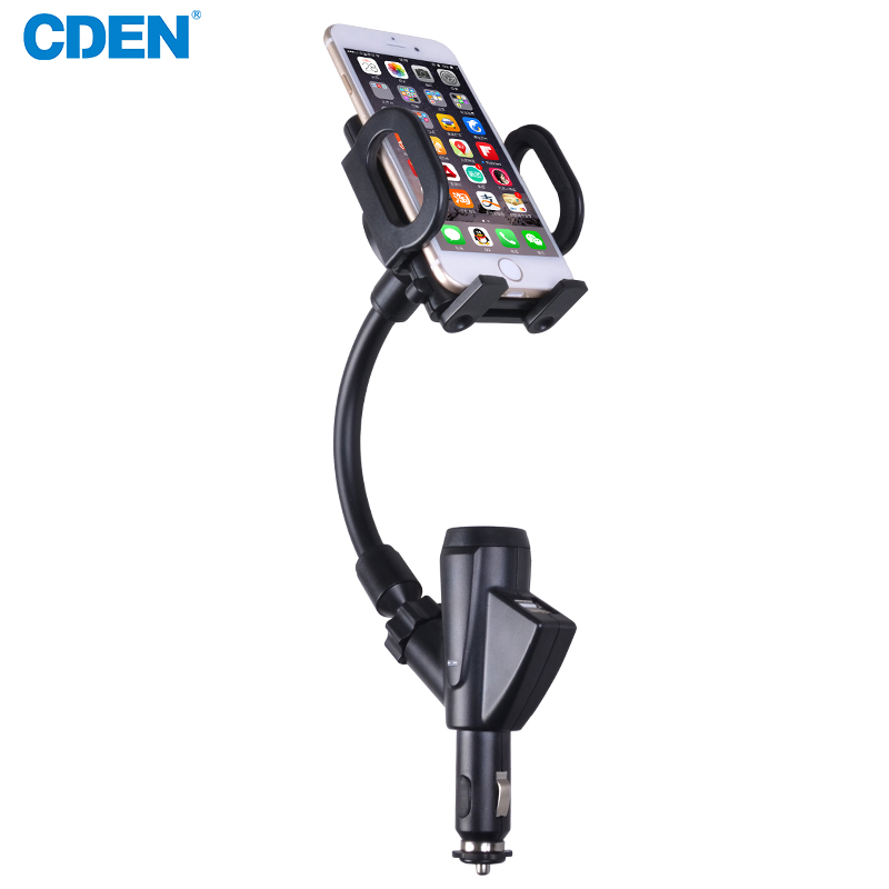 Universal Car phone holder GPS Stand In Car Phone Holder Dual USB Ports Car Charger Mount with Cigarette Lighter